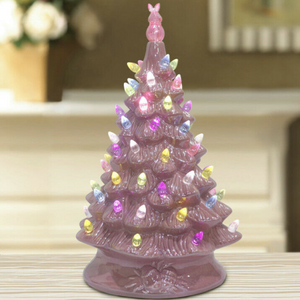 16 Inch Lit Ceramic Easter Tree (Pink)