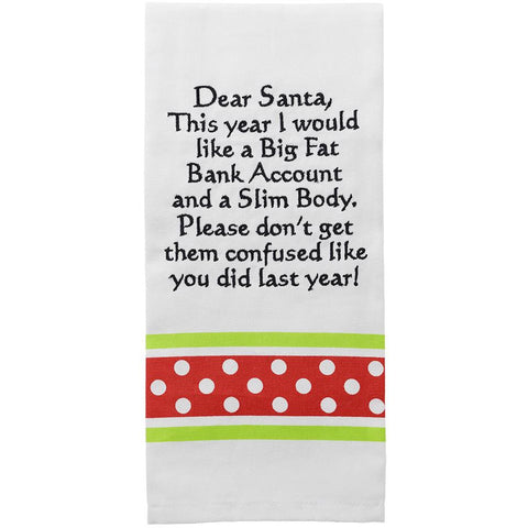 Dear Santa Sentiment Bistro Towel