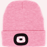 Women's Night Scout Adult USB Rechargeable LED Beanie Hat, Pink