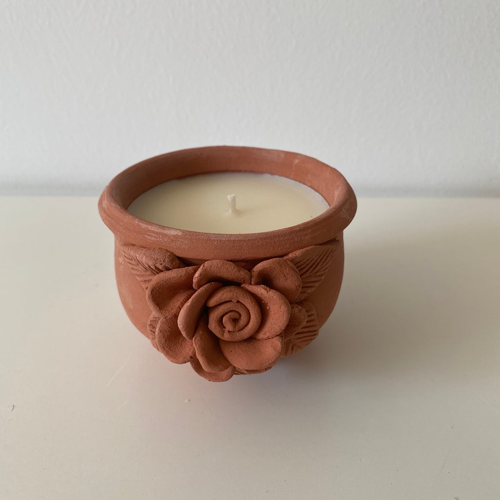 Rose clay dalit candle