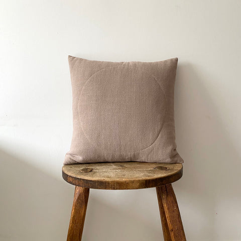 Taupe linen cushion