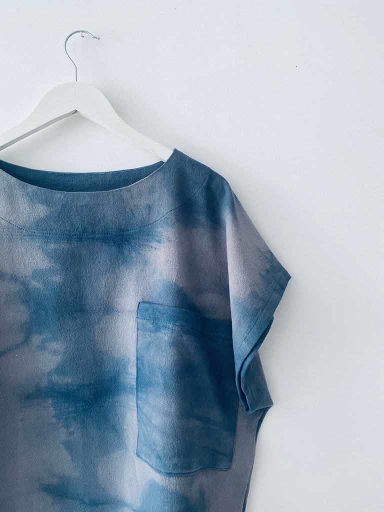 Powder grey & blue linen tie dye top