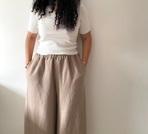 Taupe wide leg linen trousers