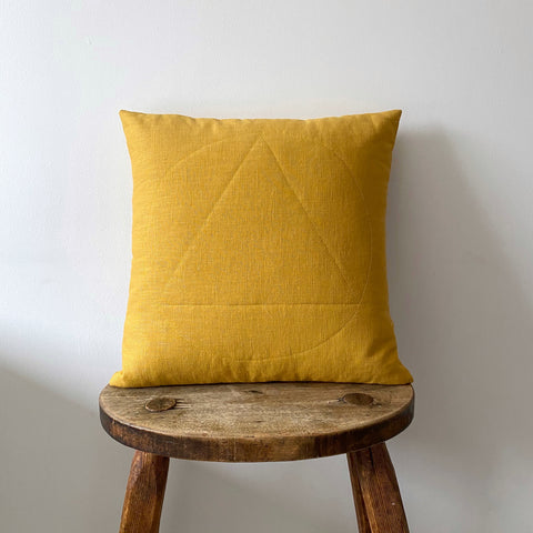 Ochre linen cushion