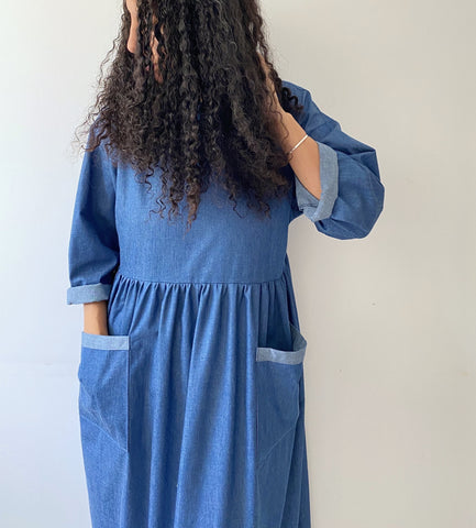 Denim Portland gathered dress