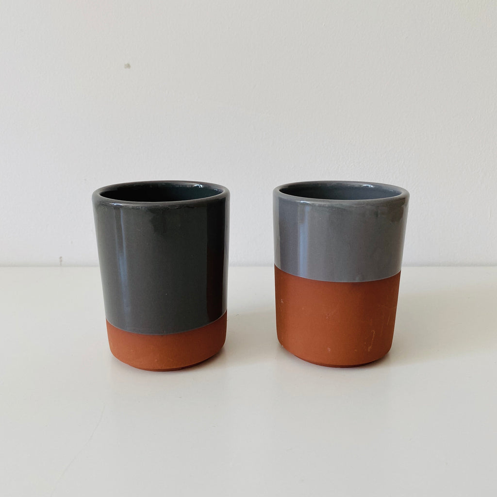 Set of two terracotta + grey glaze cups