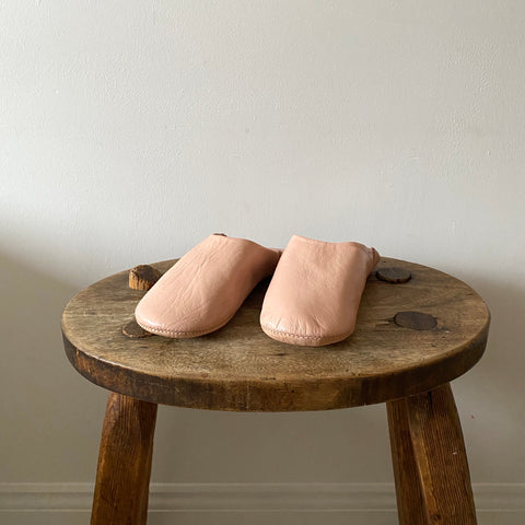 Moroccan babouche blush pink slippers