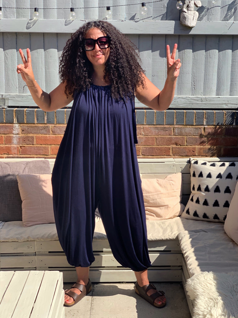 Navy drawstring jumpsuit