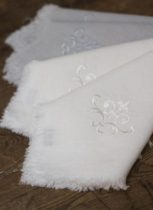 Bilbao Embroidered Linen Napkins, set of four