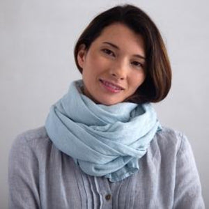 European Linen Scarf, Ice Blue