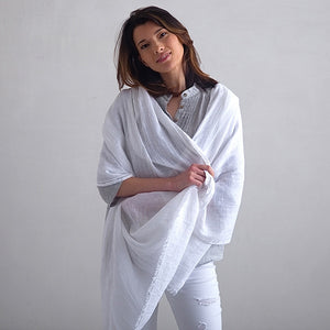 European Linen Shawl Wrap,  White