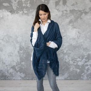 European Linen Shawl Wrap, Night Blue