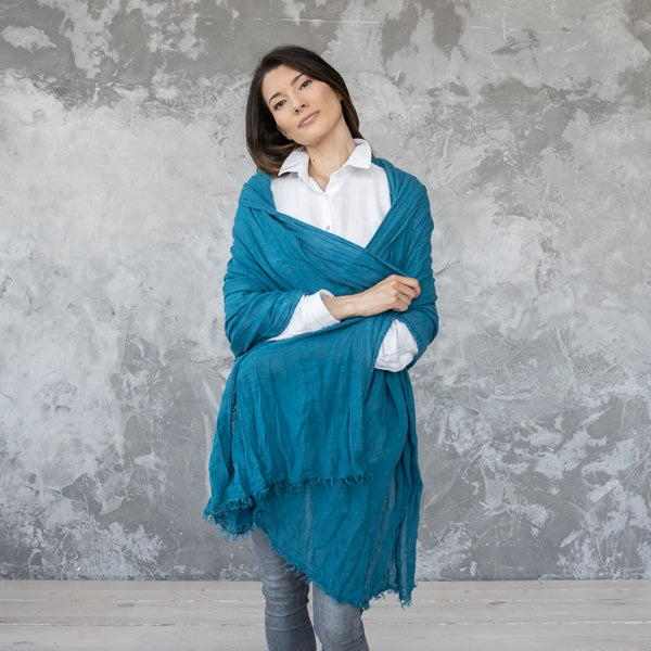European Linen Shawl Wrap, Marine Blue