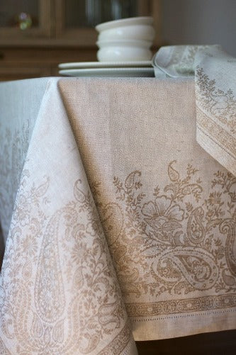 Paisley Linen Tablecloth, Beige