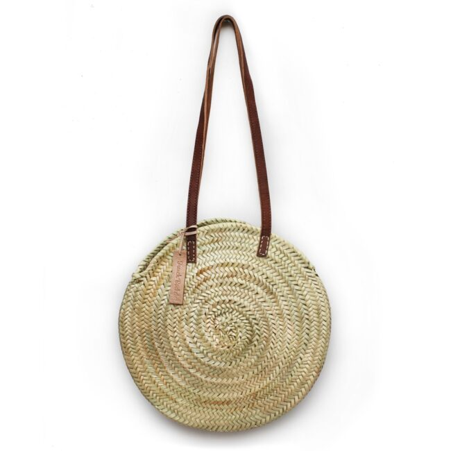 Round Wicker Basket with Long Flat Straps