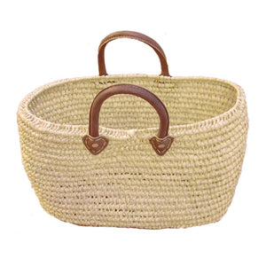 Natural Oval French Basket with Leather Handles