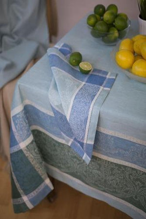 Layla Linen Tablecloth, Eggshell Blue