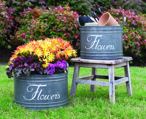 Tin flower bins