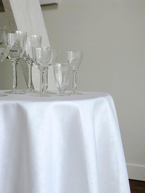 Stockholm Rectangular Linen Tablecloth, White