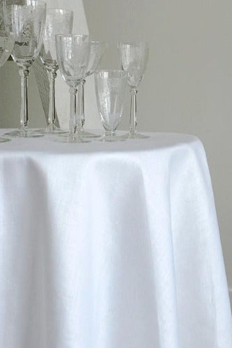 Stockholm Round Linen Tablecloth, White