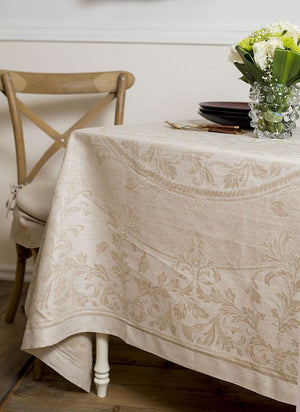 Vienna Linen Tablecloth, Natural Beige