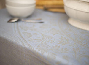 Vienna Linen Tablecloth, Blue Grey