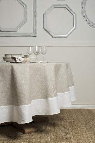Atlas Round Linen Tablecloth, Natural/White