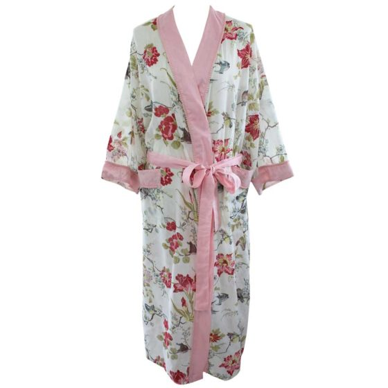 Rose Floral Robe with Pink Pom Poms