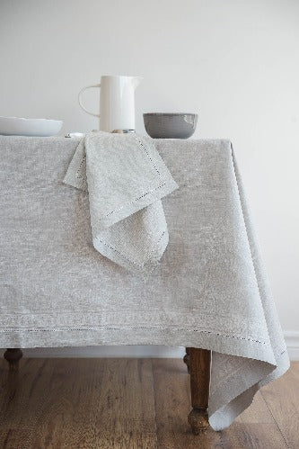 French Melody Linen Tablecloth, Light Grey