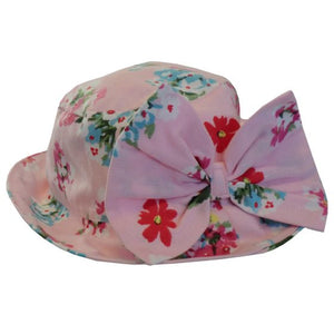 Pink Floral Hat with Bow