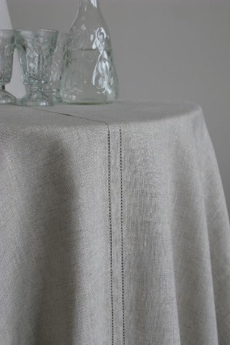 Stockholm Round Linen Tablecloth, Natural
