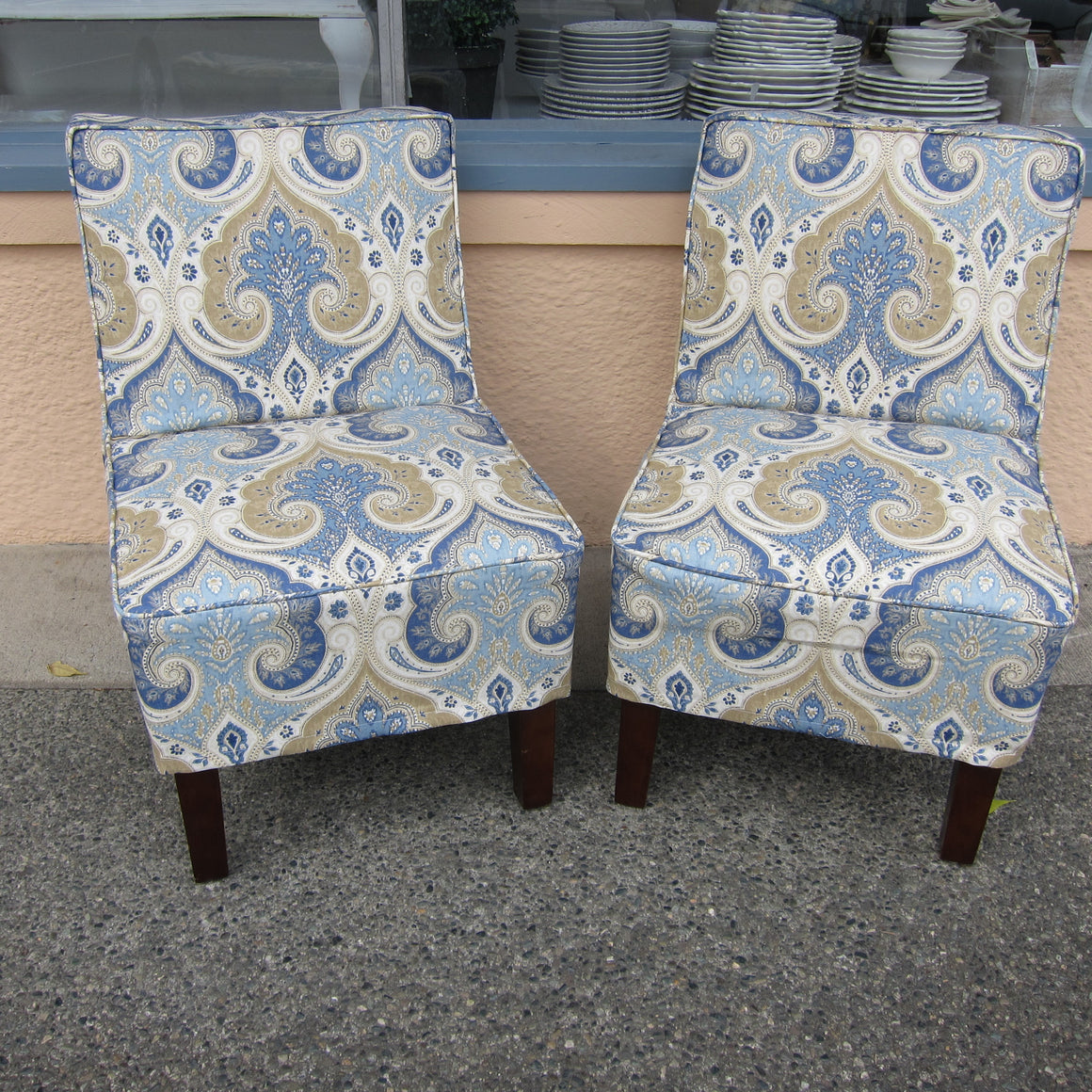 Vintage Slipper Chair with Blue Linen Slipcover