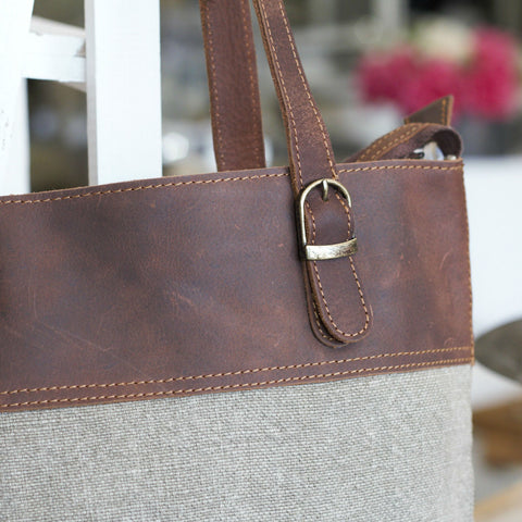 Organic Jute Tote with Leather Trim