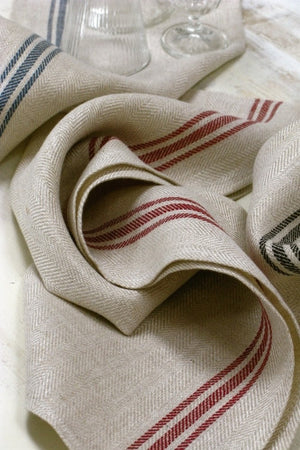 Herringbone Runner, Natural with Red Stripe