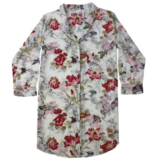 Rose Floral Nightshirt With Pink Pom Poms