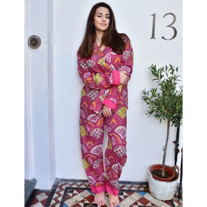 Raspberry Paisley Cotton Pajamas SN15