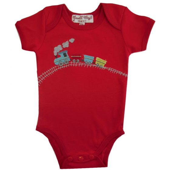 Red Train Embroidered Onesie