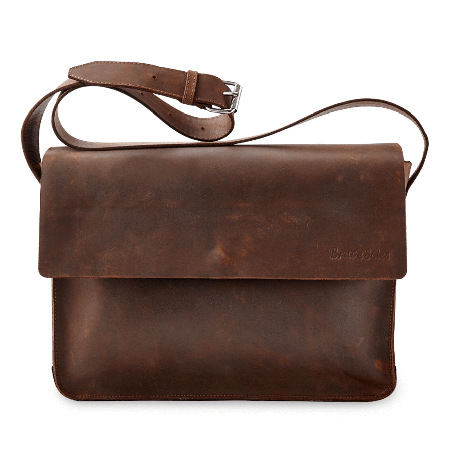 Gabriel Leather Messenger, Roasted Cocoa