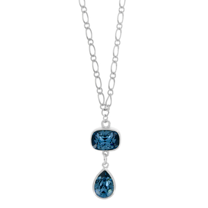 Long Rhodium Necklace with Denim Blue Pendant - PD5034