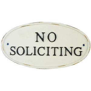 White No Soliciting Plaque