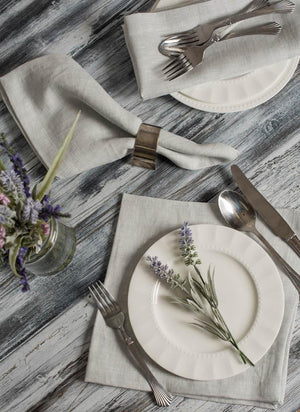 Lina Linen Napkins Pearl Grey, Set of Four