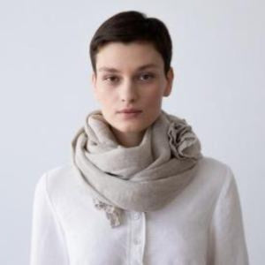 European Linen Scarf,  Natural