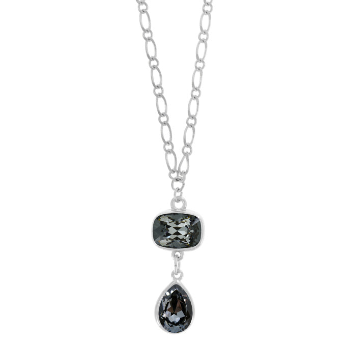 Long Rhodium Necklace with Silver Night Pendant - PD5034