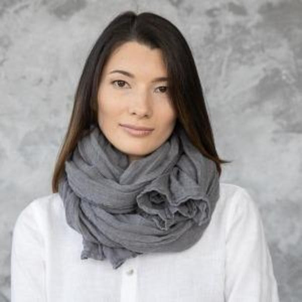 European Linen Scarf, Steel Grey