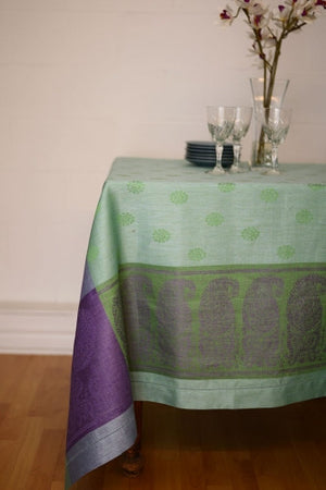 Tango Linen Tablecloth, Plum & Green