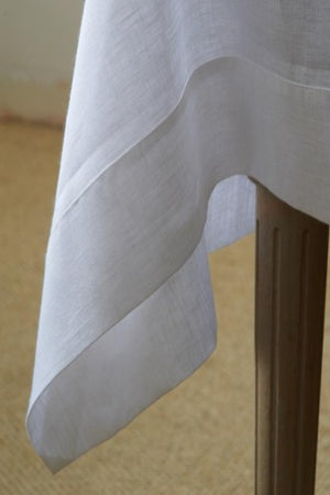 Classic White Mitered Hem Linen Tablecloth