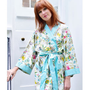 White Leaf Floral Robe