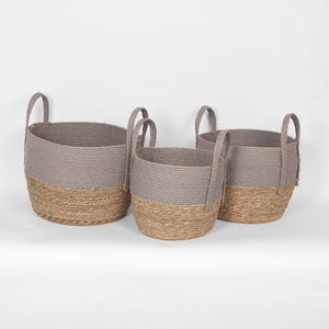 Two-Tone Grey & Natural Basket