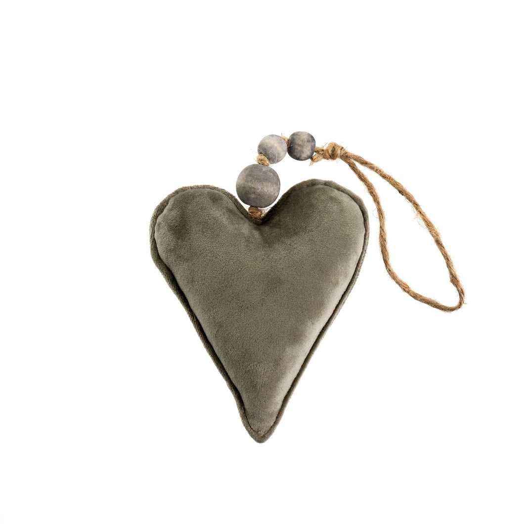 Grey Velvet Heart Ornament