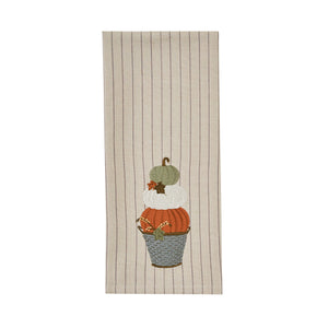 Stacked Pumpkins Embroidered Dishtowel